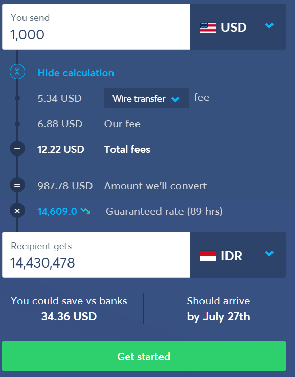 transferwise fee calculation