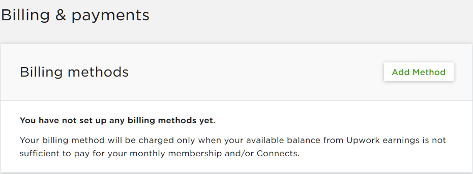 upwork billing method