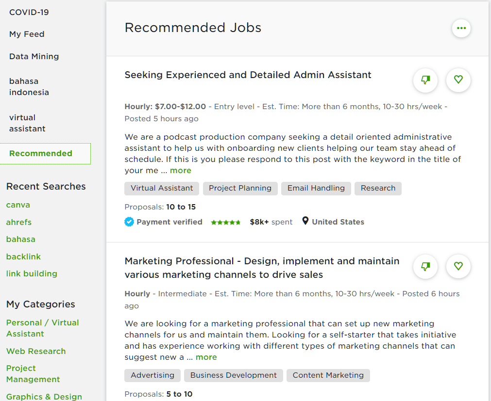 upwork recommended jobs
